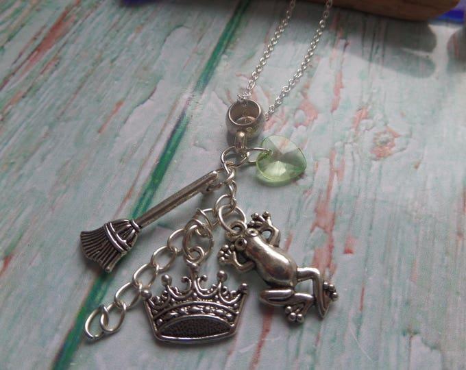 TIANA themed silver tone charm necklace, princess & the frog, princess party, princess favors,  princess tiana gift, sandykissesuk, fan gift