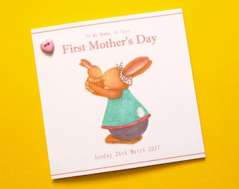 Personalised First Mother's Day Card - Bunny Love and Hugs - Bobby Bunny & Friends Illustrated Luxury Card Range by Jennifer Keelan
