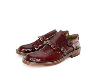 Monk Straps Shoes in Wine Patent Leather