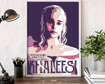 khaleesi print-art, game of thrones - khaleesi, daenerys targaryen portrait-print-art-poster, game of thrones quote-print-art-poster, prints
