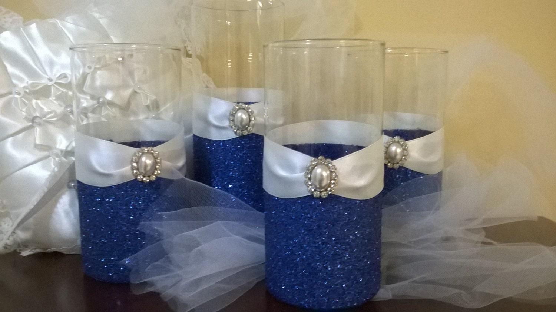 Wedding centerpiece 5 glitter vases bridal bouquet holder