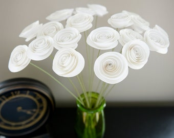 White Paper Flowers on Stems, Bouquet of Paper Flowers, Home Decor