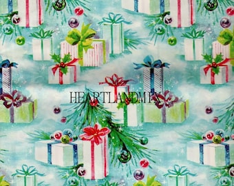 Vintage Retro Holiday Christmas Presents Wrapping Paper Wallpaper Digital Image Download Printable