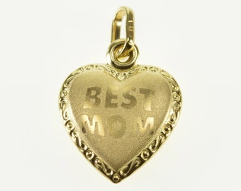 10k Best Mom Brushed Finish Puffy Heart Trim Pendant Gold