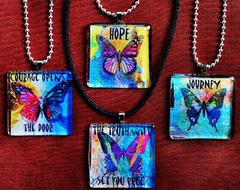OnE GLASS HEALING PENDANT art therapy recovery butterfly necklace hope survivor inspirational word phrase