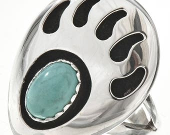 Turquoise Silver Ladies Bear Paw Ring Navajo Made Sizes 4 to 9 Native American Jewelry