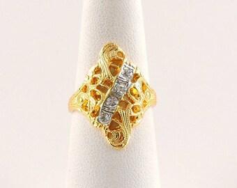 Size 6 14k Gold Plated And Rhinestone Filigree Fashion ring