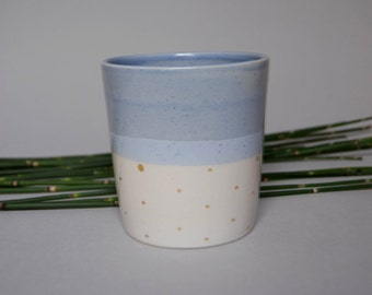 blue and white ceramics tea/coffee/water cup, handmade wheel thrown stoneware, with gold dots