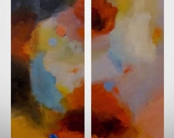 "Large ABSTRACT Original Painting - Diptych Art Contemporary Art Diptych Painting Modern Abstract 2 Canvas Art Abstract Painting 24""x48"" CES"