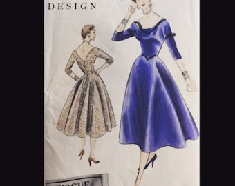 Vintage 50s Vogue Special Design Cocktail Party Full Skirt Dress Pattern 4515 B32