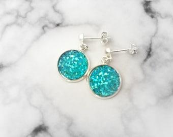Blue Resin Earrings, Festive Dangle Earrings, Aqua Stud Earrings, Women's Aqua Earrings, Aqua Druzy Jewelry, Aqua Circle Earrings, 12mm Stud