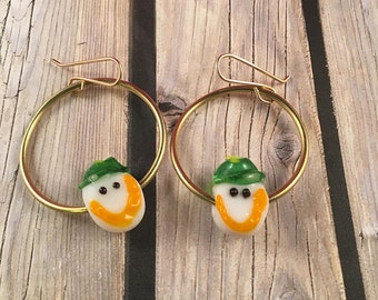 "Gold Hoop Earrings with Glass Smiley Face Accent Beads on 14kt Gold Filled Ear Wires 1.75"" Long 1"" Wide OOAK Previously 25 Dollars ON SALE"