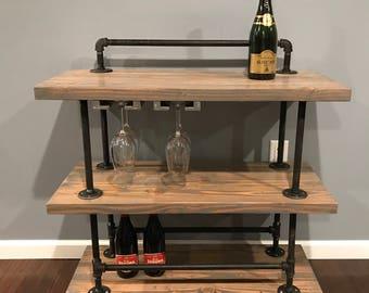 Industrial style bar cart