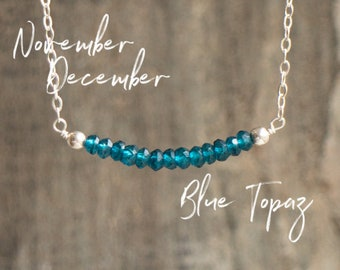 Blue Topaz Necklace, Something Blue Necklace, November Birthstone Necklace, December Birthday Gift for Her, London Blue Topaz Jewelry