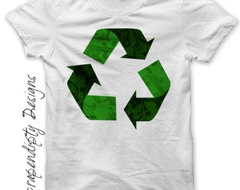 Recycle Iron on Shirt PDF - Earth Day Iron on Transfer / Recycling Womens Tshirt / Kids Boys Clothing Top / Girls Hippie Baby Clothes IT98