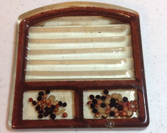 "Trivet Slice of Bread by Gamut Designs Made in USA in the 1970's, Cast Resin Trivet 4.5"" long and 4.25"" wide Previously 17 Dollars ON SALE"