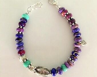 Purple Agate and Chrysoprase Beaded Bracelet - Chunky Purple Agate and Turquoise Color Chrysoprase  Bracelet With Karen Hill Tribe Silver