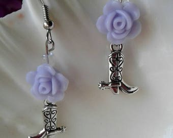 Country Western Boot Earrings,Purple Rose,Western Jewelry
