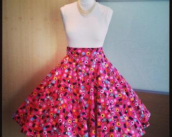 1950's, Retro, Rockabilly, Vintage style 'Sweeties' full circle skirt, 26 inch waist / UK size 8