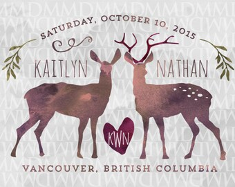 Deer Love Custom Watercolor Wedding Logo - Wedding Crest - Wedding Monogram - Woodland Wedding