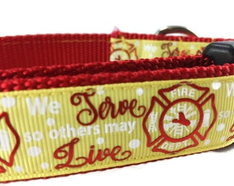 Dog Collar, Firefighters, 1 inch wide, adjustable, quick release, medium, 13-19 inches