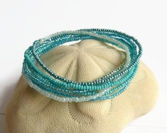 Turquoise bracelet, stackable bracelet, hippie jewelry, seed bead bracelet, stretch bracelet, boho jewelry, friendship bracelet, wife gift