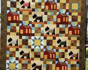 Scotty Dogs in the Neighborhood Full Size Quilt
