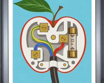 Apple plug: signed limited edition, colouful, conceptual,  illustration print