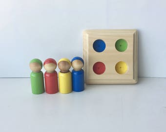 Rainbow Peg Doll Set or 4 with Square Board, Peg Dolls, Boy shape, Montessori inspired, Waldorf People