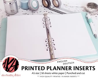 PLANNER INSERTS A5 | 50 sheets white paper |  Filofax | cut and punched