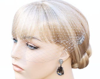 Rhinestones Grey Bandeau Style Veil French Net Blusher Soft Birdcage Veil Hat Net Face Veil On Hair Combs