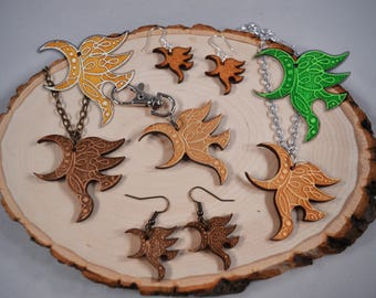 "Yawë (""elf friend"") wood keychain/necklace/earrings! For ERAGON and INHERITANCE CYCLE fans!"