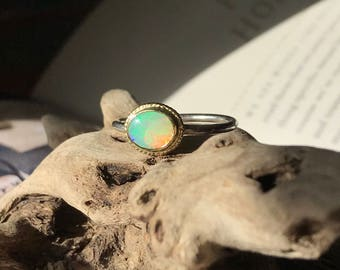 Australian Crystal Opal, 18k gold & sterling Engagement Ring - Size 8