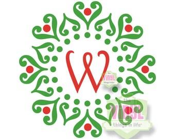Monogrammed Christmas decal, Wreath monogram decal, Holiday monogram decal, Christmas monogram sticker, Winter monogram, Wreath sticker