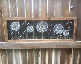 Dandelion art, window screen art,Dandelion garden,outdoor Art,wood frame
