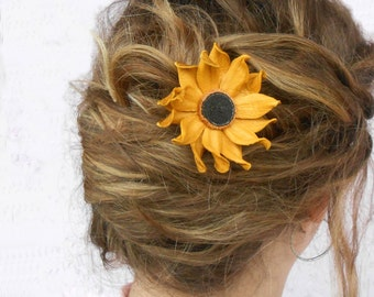 Wedding flower clip, Yellow hair flower, Wedding hair flowers, Bridal hair clip, Wedding Hair Piece, Bridesmaids Hair, Bridal Hair piece