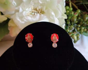 BUDDHA Intaglio Reverse Carved Etched Glass Rhinestone Screw on Earrings Gold Plated jewelrybybadabling Red Gold