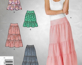 "An Easy Sew Gathered/Tiered Skirt in 2 Lengths Sewing Pattern for Women: Uncut - Sizes 6-8-10-12-14-16, Waist 23""-30"" ~ Simplicity 4549"