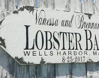 Lobster Bake Sign. Wedding Arrow Sign. Directional Signs. Outdoor Wedding Signs. Wedding Signs. Distressed Signs. Custom Signs.