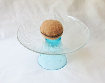 Cupcake Stand Dessert Jewelry Holder - Glass Vintage Flowers Aqua Blue Kitchen Gift Homewares - Aquamarine Shabby Chic Rustic Serving