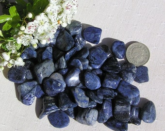 12 Blue Dumortierite Crystal Tumblestones, Crystal Collection, Blue Crystals, Chakra Crystals, Reiki, Blue Tumblestones, Meditation Stone