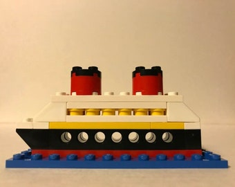 "Lego Disney Cruise Ship With ""Portholes"" and Blue Base"