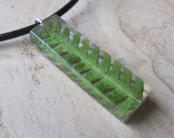fern necklace, fern jewelry, silver fern necklace, silver necklace, resin necklace, resin jewels, nature necklace, nature jewelry, real fern