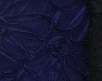 Navy Blue Rosette mesh Fabric