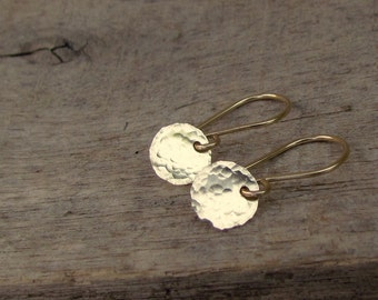 Tiny Gold Disc Earrings, Tiny Gold Earrings, Simple Gold Earrings, Gold Filled Earrings Minimalist Jewelry, Hammered Gold Earrings
