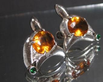 Vintage Sterling Silver Citrine Gemstone Earrings