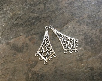 Antique Silver Filigree Chandelier Earring Findings Package of 2 Boho style earring supplies
