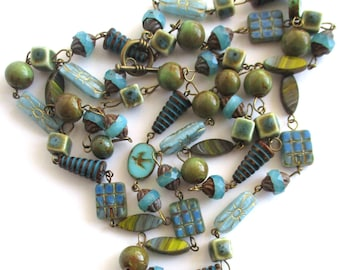 ceramic necklace Czech glass necklace rosary necklace beaded necklace 48 inch long necklace boho necklace handmade jewelry gift for her