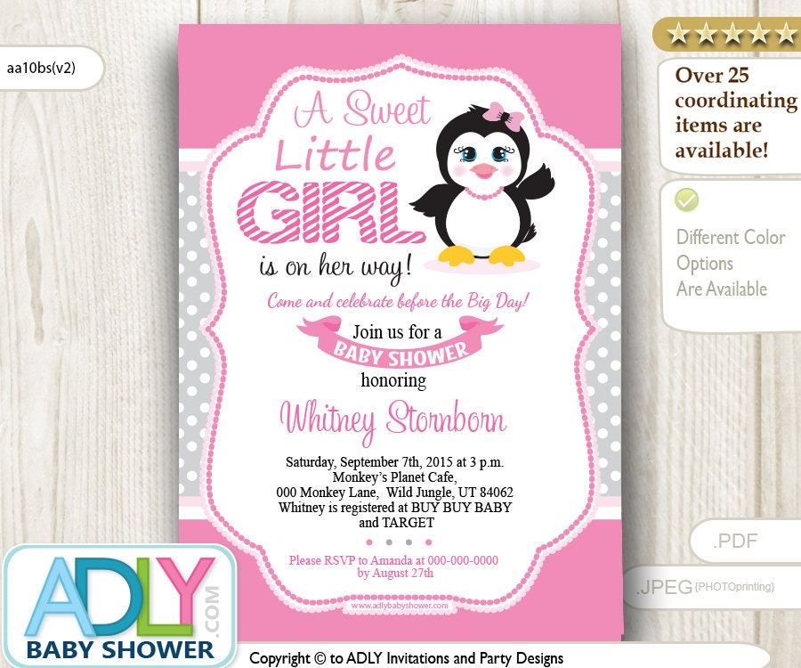 Penguin Invitation for Baby Girl in Grey and Pink colors A