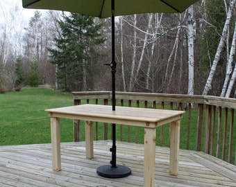 "Repurposed ""Deep Woods"" Outdoor Patio Table - Pine Base and Top"